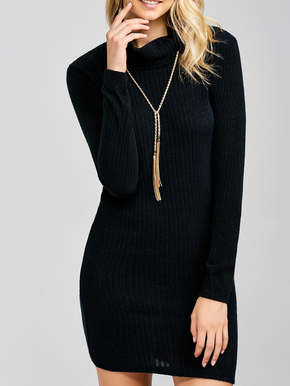 Ribbed Mini Cowl Neck Fitted Sweater Dress inc new black women s p petite ribbed cowl neck studded tunic sweater $69 071