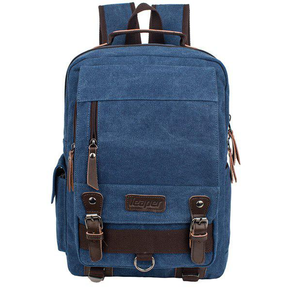 Colour Spliced Zippers Double Buckle Backpack colour spliced nylon zippers messenger bag
