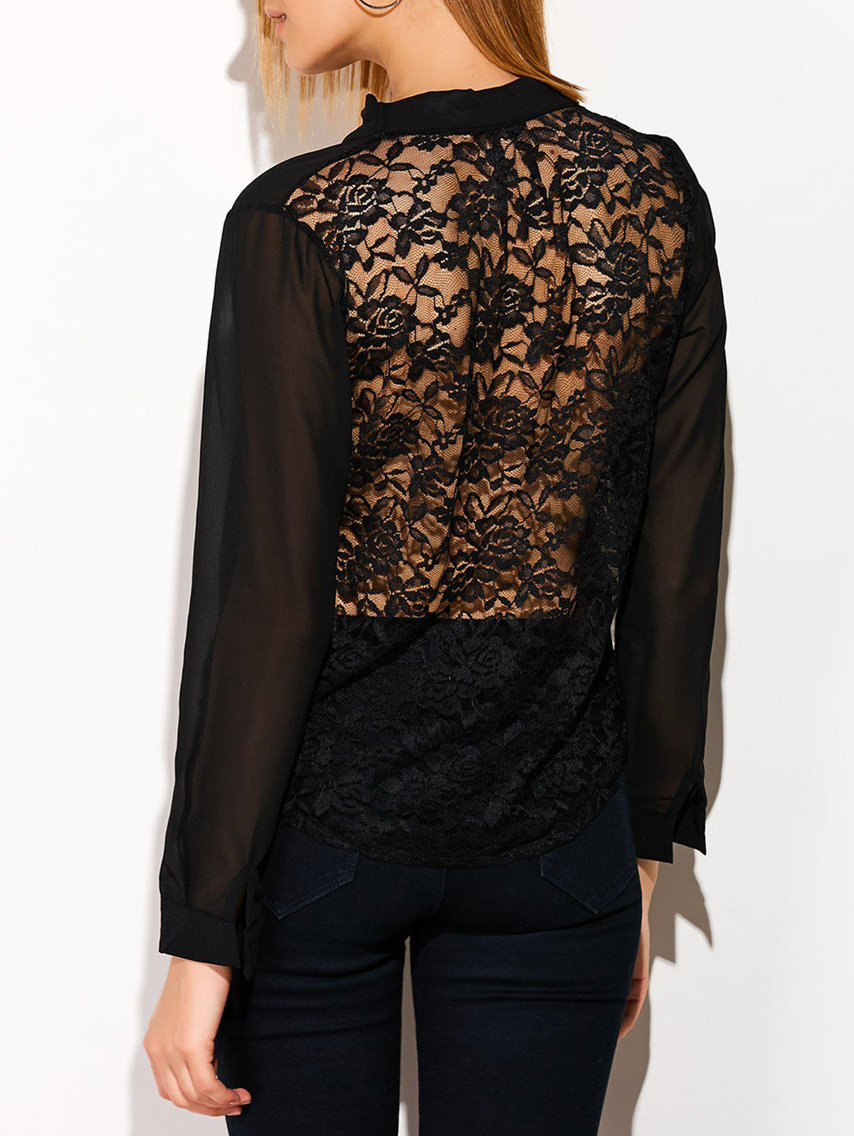 See Through Lace Back Spliced Blouse - BLACK S