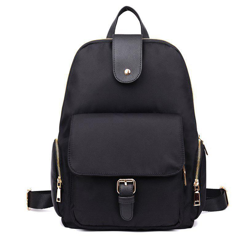 Nylon Buckle Strap Side Zip Pockets Backpack - BLACK