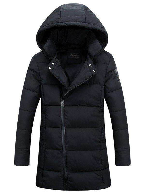 Lengthen Hooded Thicken Oblique Zipper Design Down Coat - BLACK L