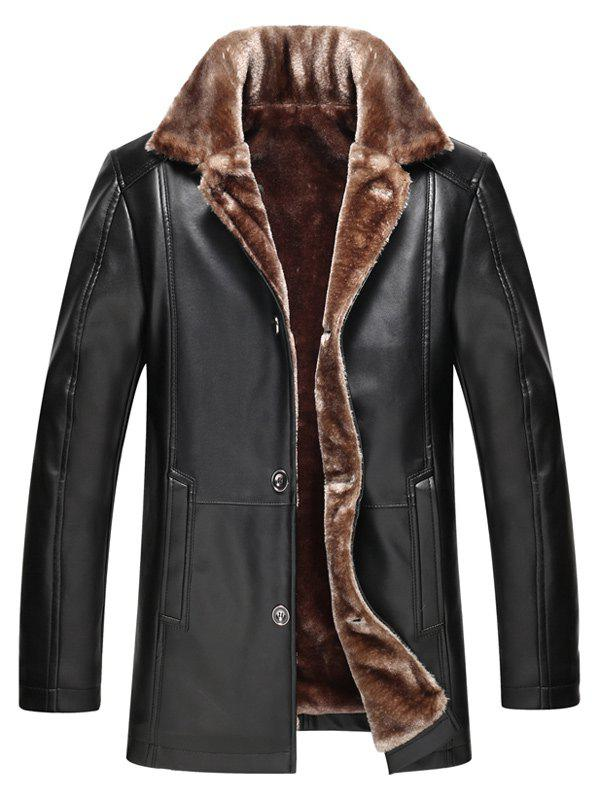 Plus Size Faux Fur Collar Single Breasted Flocking PU Leather Jacket - BLACK 2XL