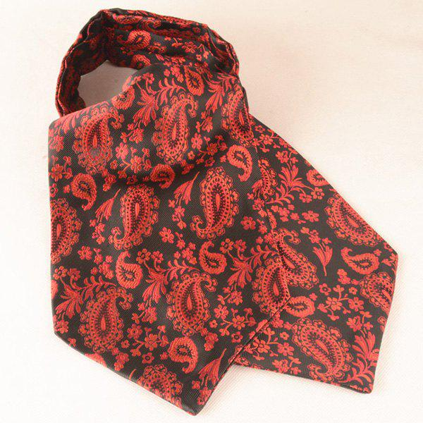 Cashew Floral Pattern Square Pocket Cravat Tie Set - RED