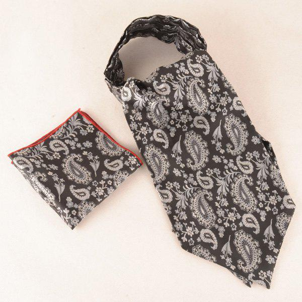 Cashew Floral Pattern Square Pocket Cravat Tie Set - BLACK