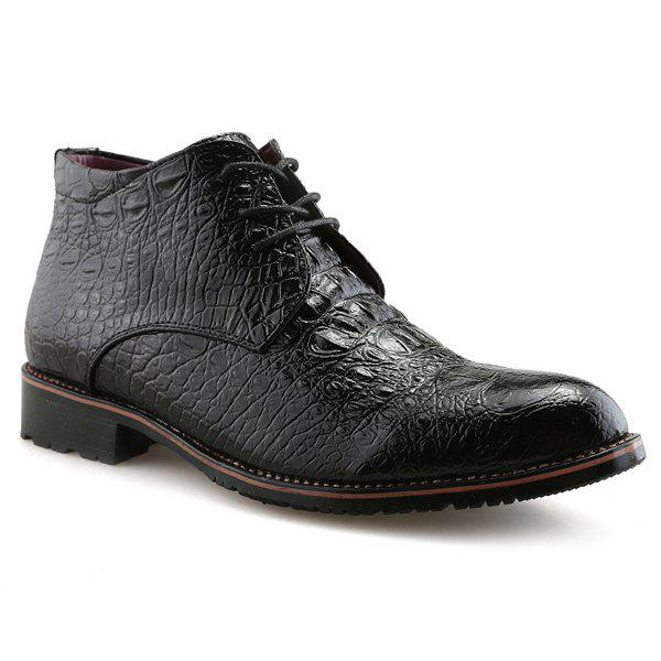 Embossed Tie Up PU Leather Boots - BLACK 42