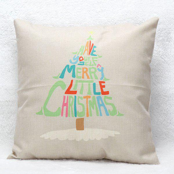 Christmas Tree Letters Printed Pillow Case christmas cap printed holiday pillow case