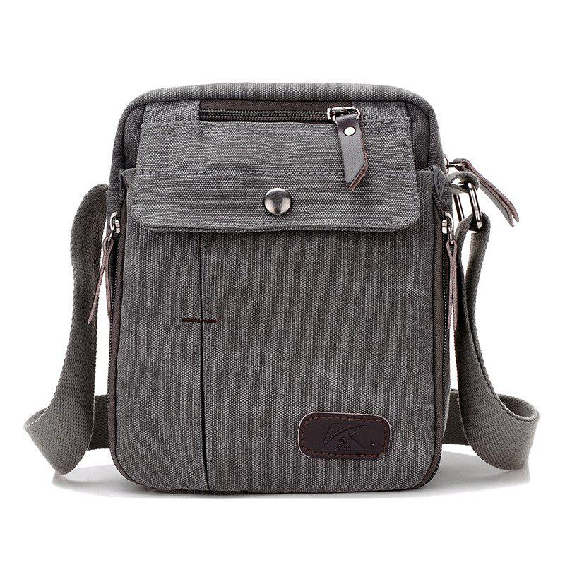 Casual Canvas Multi Zpis Corssbody Bag - GRAY