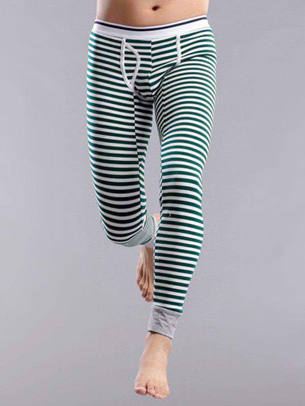 Striped U Contour Pouch Long Johns Pants, Green