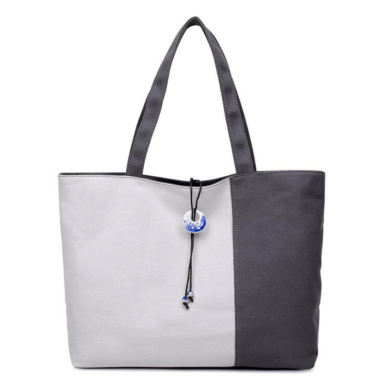 Canvas Pendant Color Block Shoulder Bag - GRAY