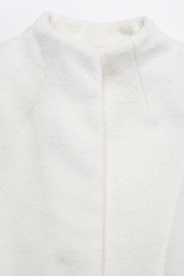 Stand Neck Belted Woolen Coat - OFF WHITE S