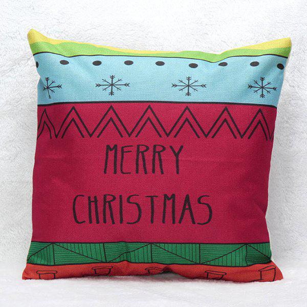 Christmas Letters Printed Sofa Pillow Case christmas cap printed holiday pillow case