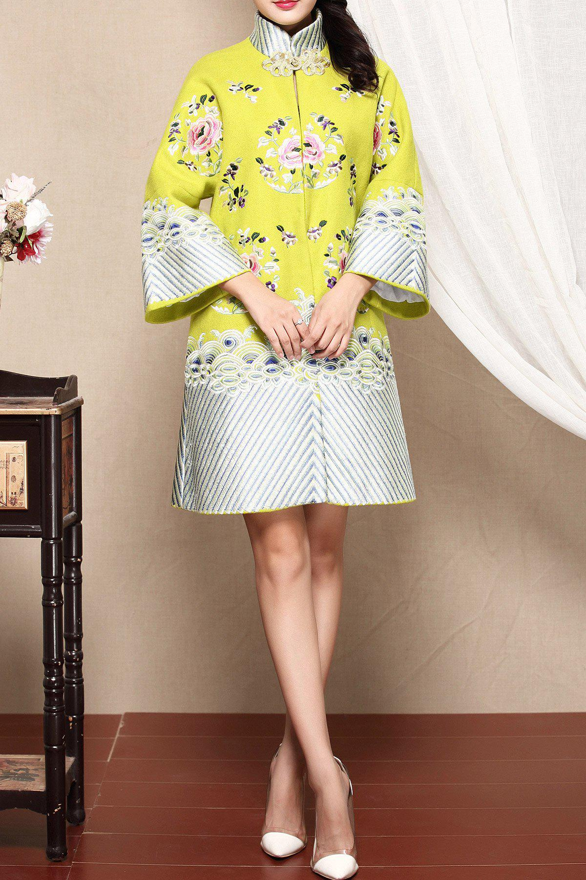 Wool Blend Embroidered A Line Coat - YELLOW XL