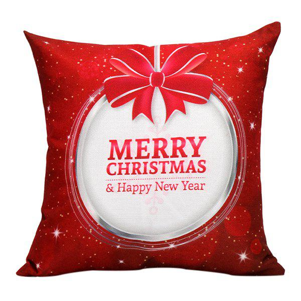 Merry Christmas Bowknot Printed Sofa Pillow Case christmas cap printed holiday pillow case