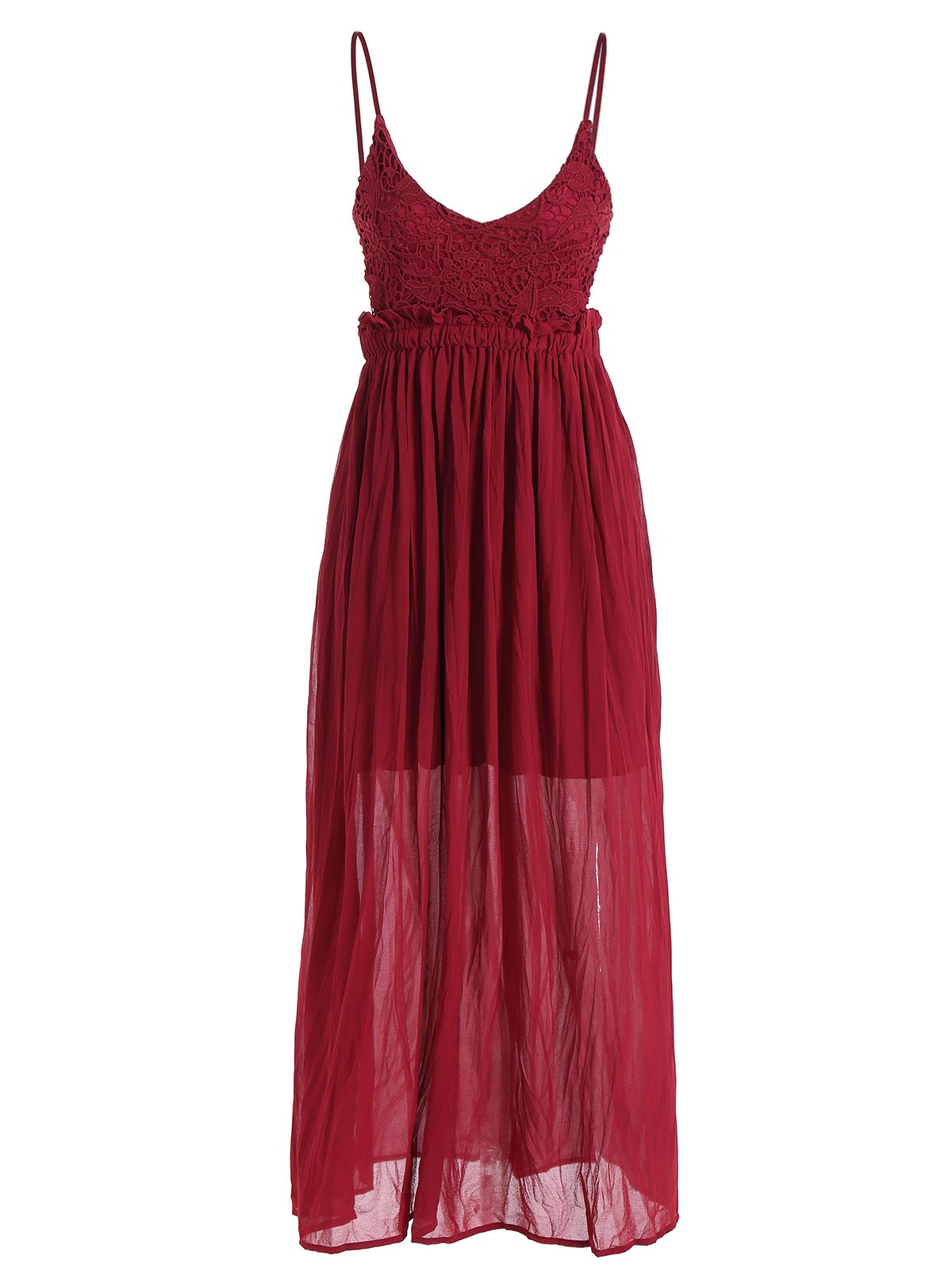 Spaghetti Strap Plunge Neck Maxi Chiffon Dress - WINE RED M