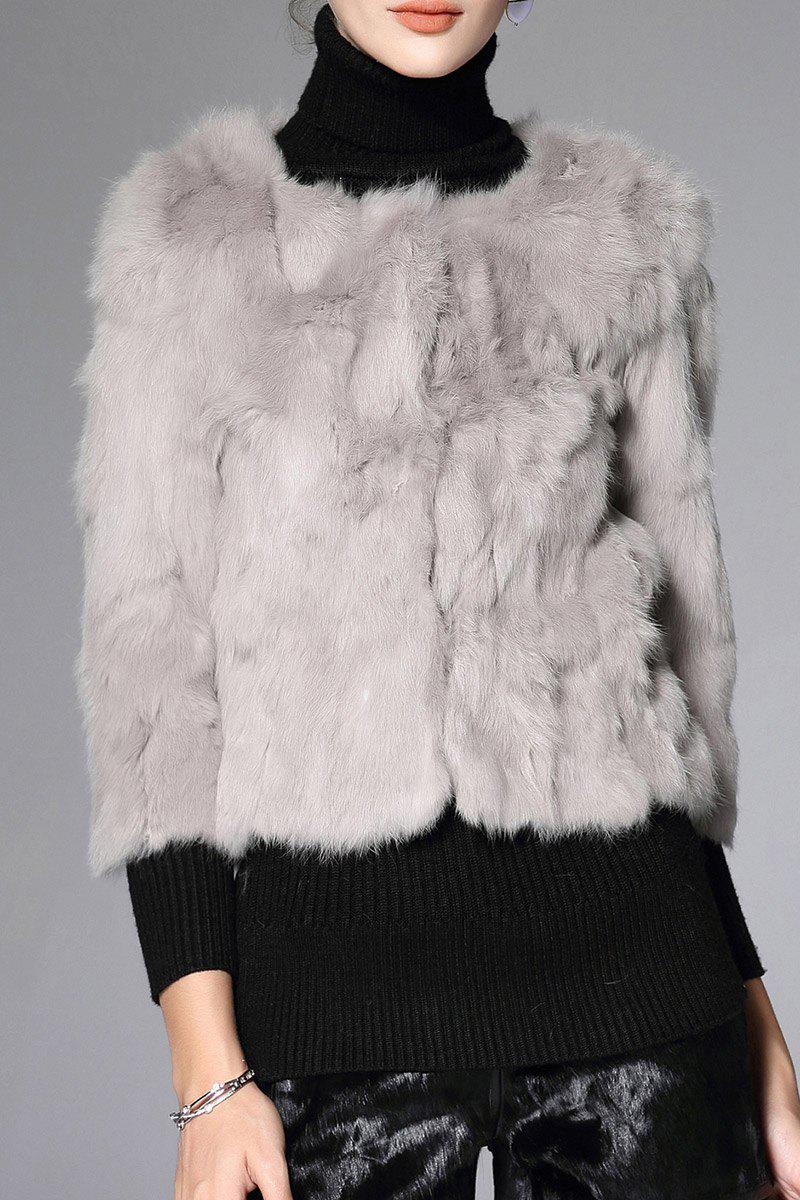 Slim Fit Fur Coat - GRAY M