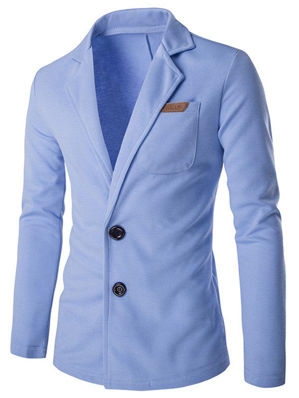 Slim Fit Lapel Single Breasted PU Pocket JacketMen<br><br><br>Size: XL<br>Color: LIGHT BLUE