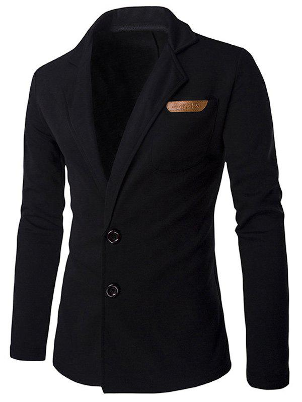 Slim Fit Lapel Single Breasted PU Pocket Jacket - BLACK M