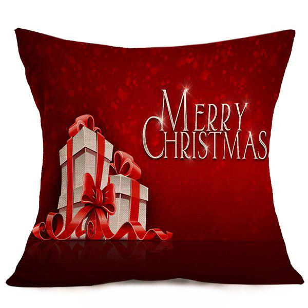 Merry Christmas Gift Sofa Cushion Throw Pillow CoverHome<br><br><br>Color: DEEP RED