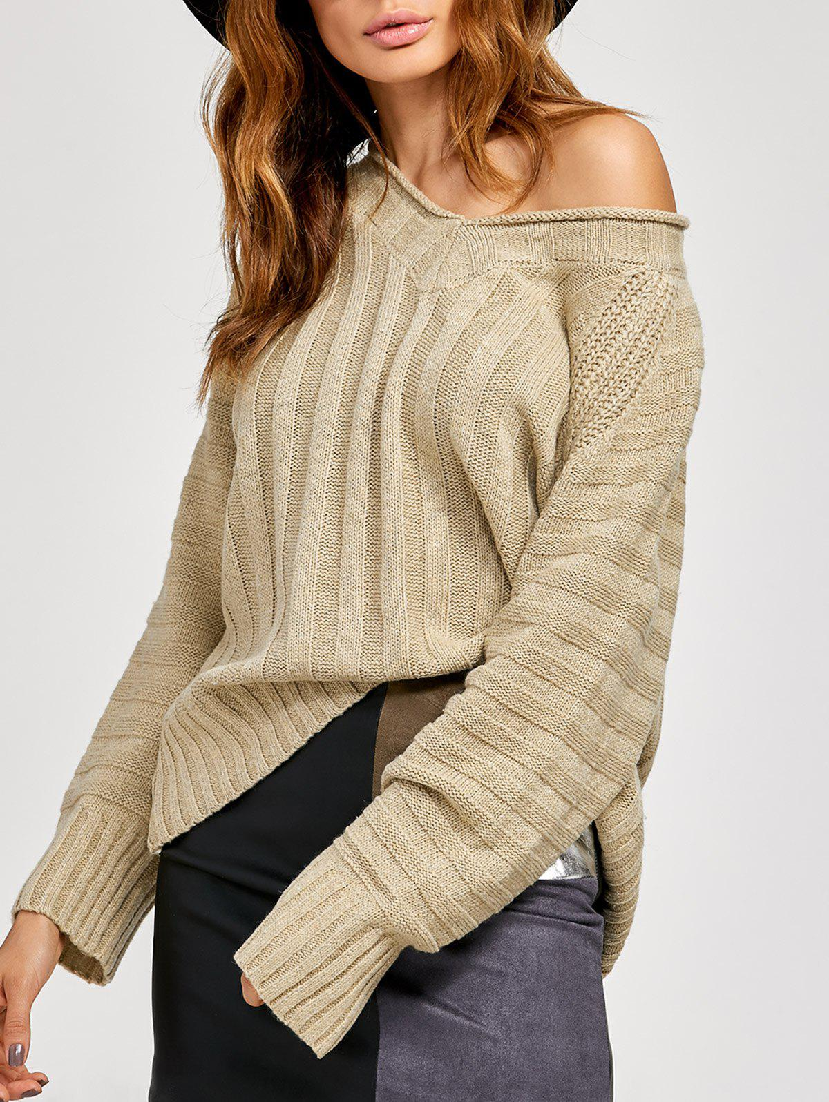 Stripe V Neck Pullover KnitwearWomen<br><br><br>Size: ONE SIZE<br>Color: LIGHT KHAKI