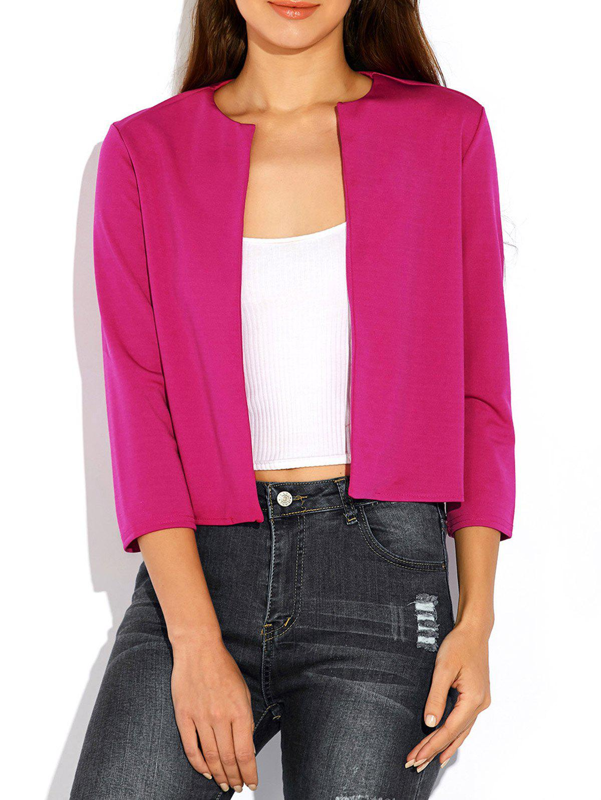 Open Front Plain Slimming Short Blazer - ROSE RED XL