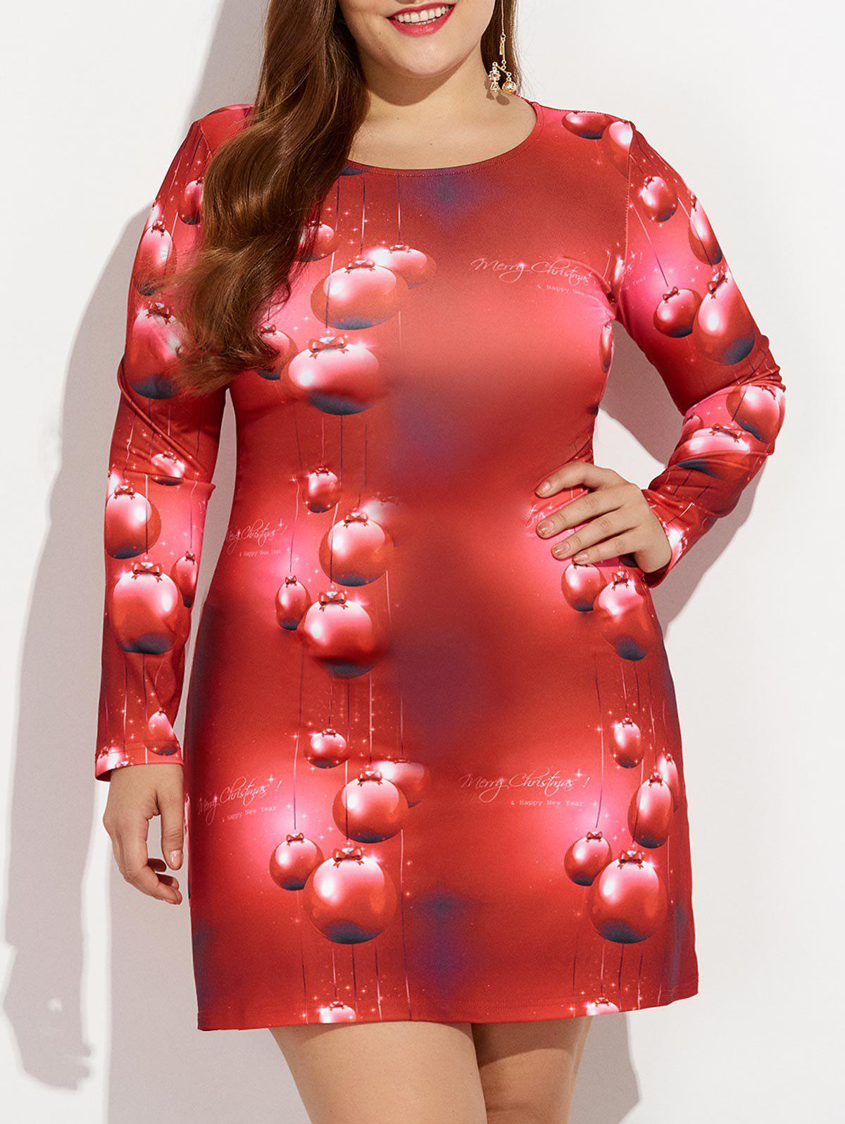 Christmas Plus Size 3D Print Long Sleeve Dress - RED XL