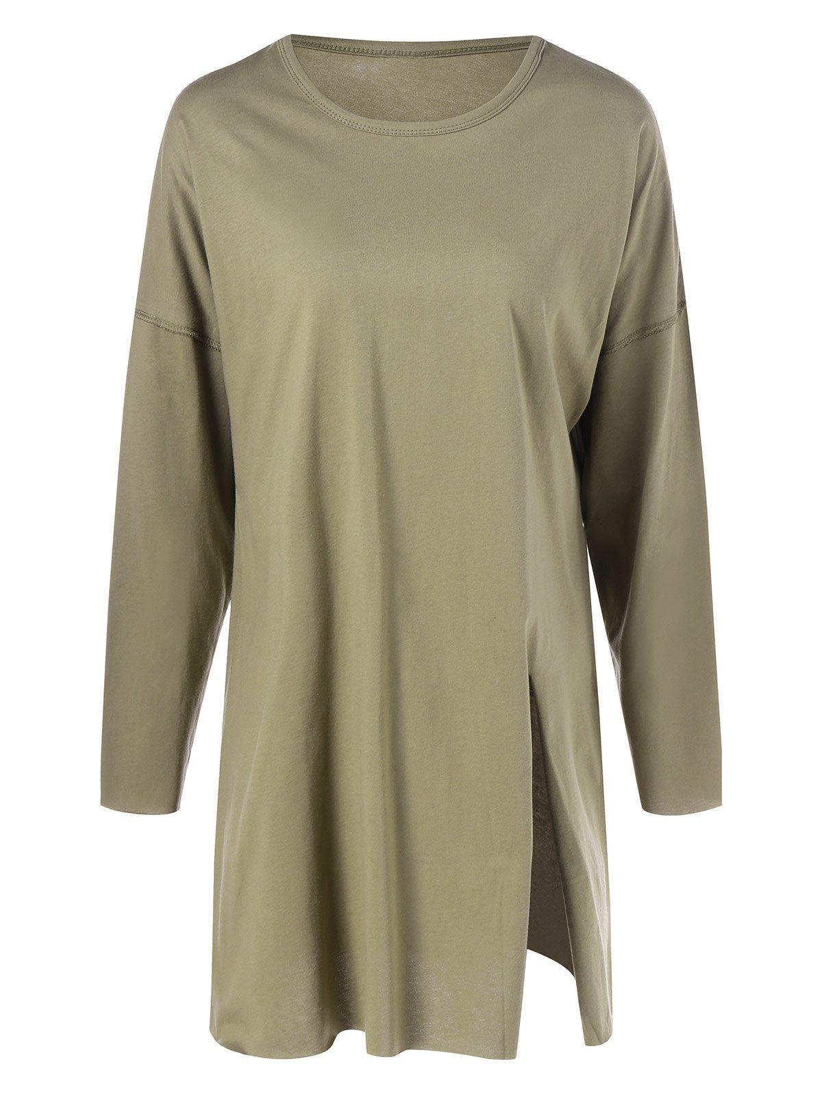 Long Sleeve Plus Size Split T Shirt - ARMY GREEN XL
