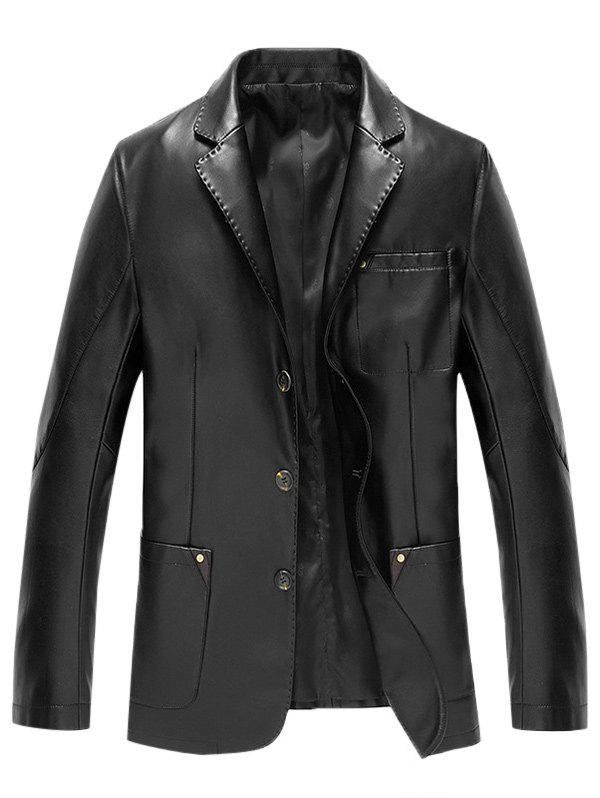 Button Up Lapel Pocket PU Leather Jacket - BLACK XL