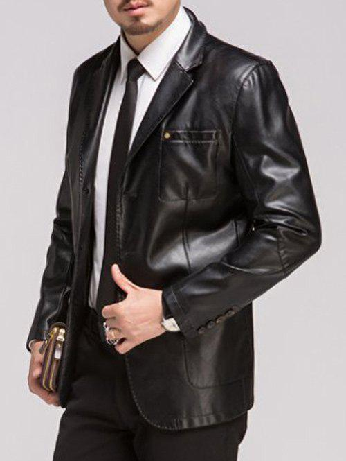 Button Up Lapel Pocket PU Leather Jacket - BLACK 3XL