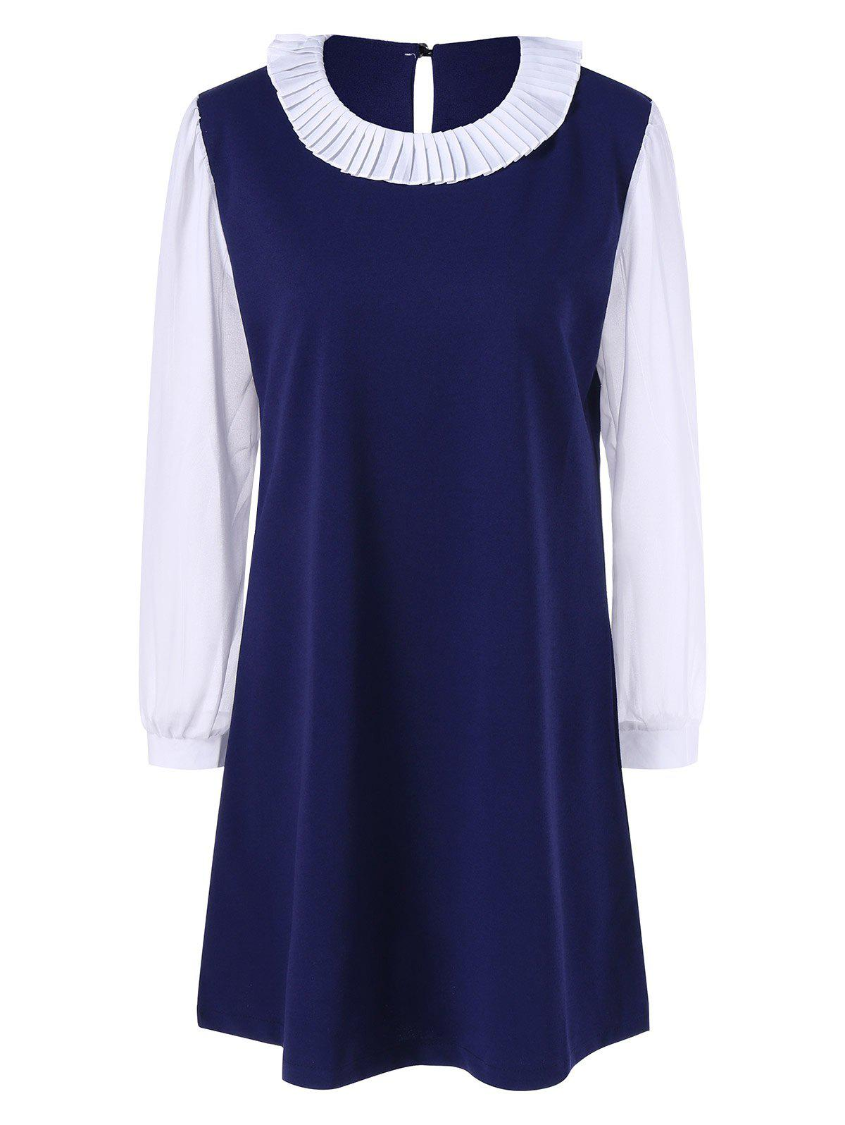 Long Sleeve Plus Size Color Block Dress - Bleu Violet 2XL