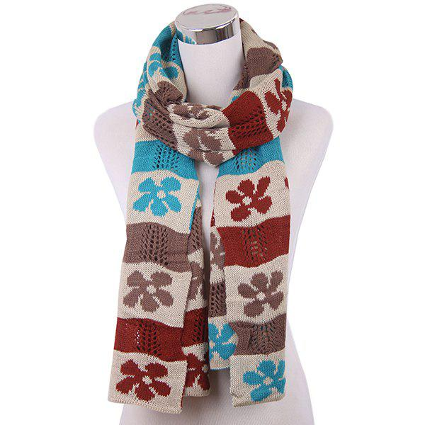 Flower Color Block Knitted Scarf rosicil consumer cap knitted scarf
