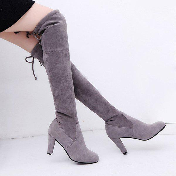 Suede Chunky Heel Thigh High Boots suede chunky heel womens thigh high boots