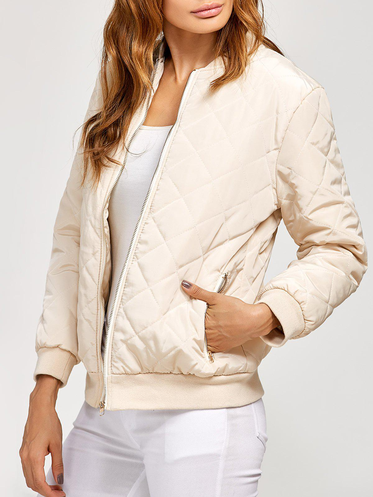 Rhombus Zipper Fly Bomber Jacket - OFF WHITE L
