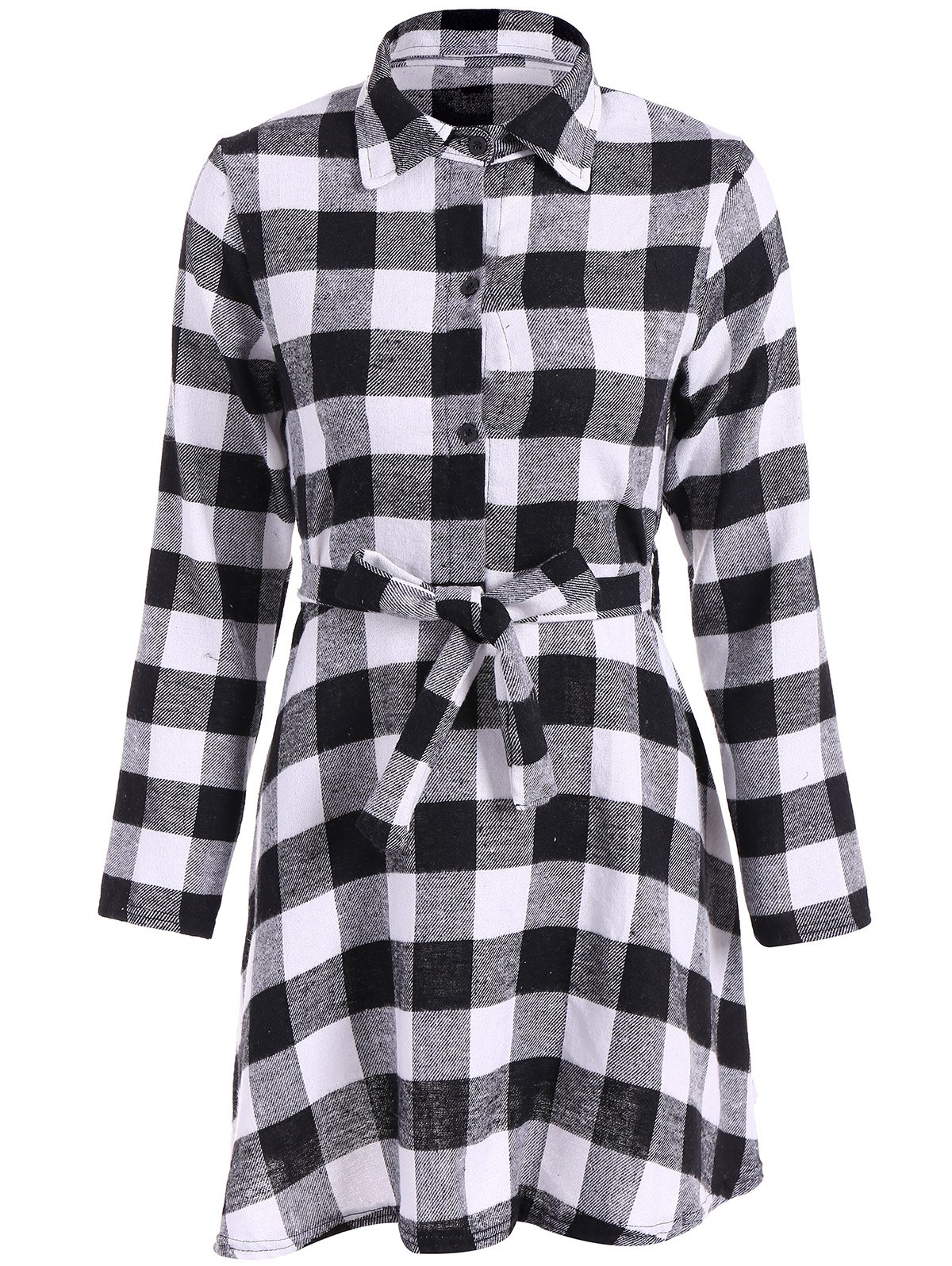 Checked Belted Shirt DressWomen<br><br><br>Size: S<br>Color: WHITE AND BLACK