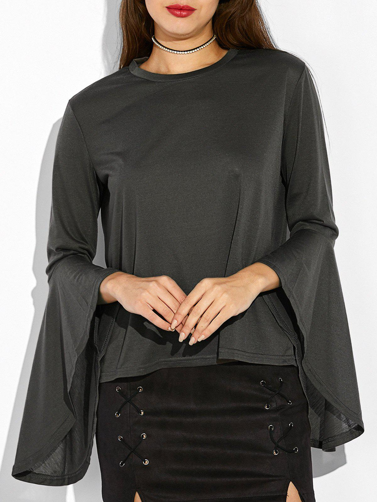 Bell Sleeve Fitted T-Shirt - BLACK GREY XL