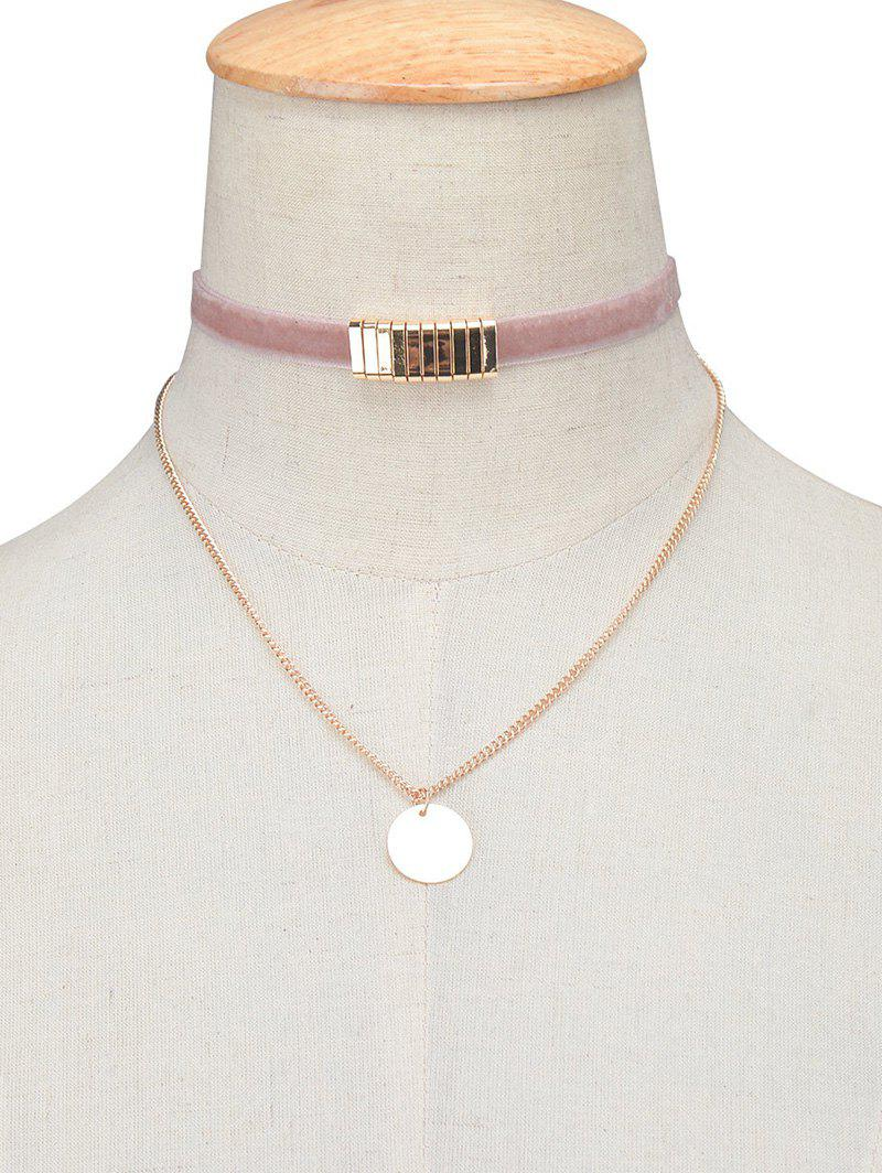 Vintage Circle Paillette Velvet Choker Necklace - PINK