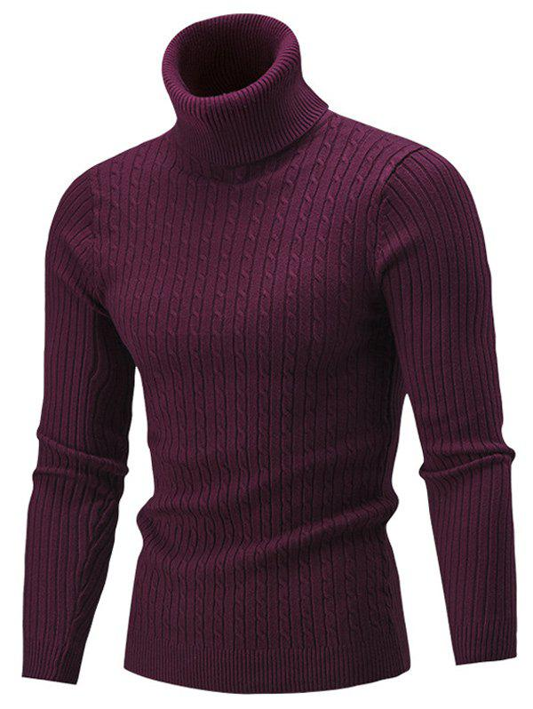 Roll Neck Cable Knitted Slim Fit SweaterMen<br><br><br>Size: 2XL<br>Color: WINE RED