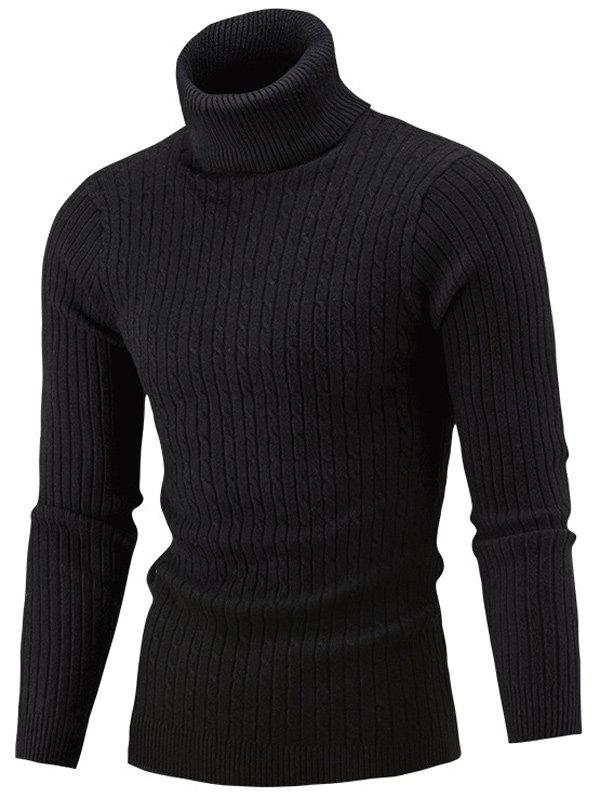 Roll Neck Cable Knitted Slim Fit Sweater skew neck cable knitted sweater