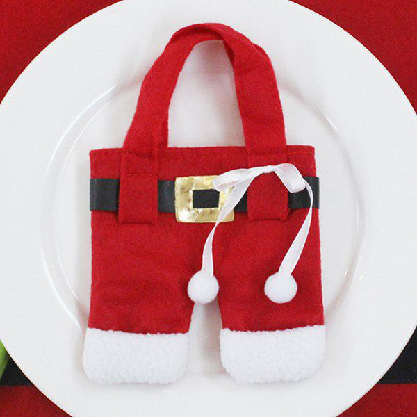 Christmas Santa Pants Knives and Forks Bag - RED