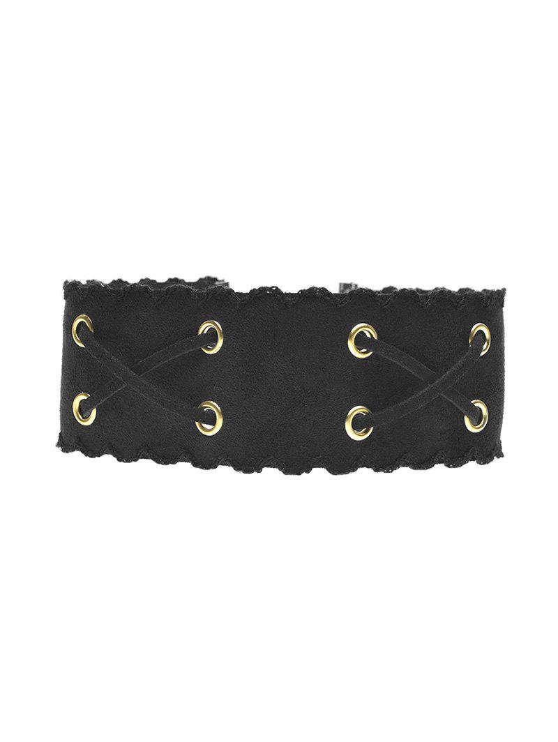 Faux Leather Velvet Choker - BLACK