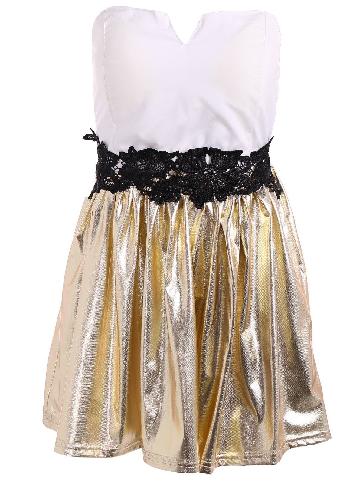 Short Strapless Patchwork Prom Dress - GOLD/WHITE XL