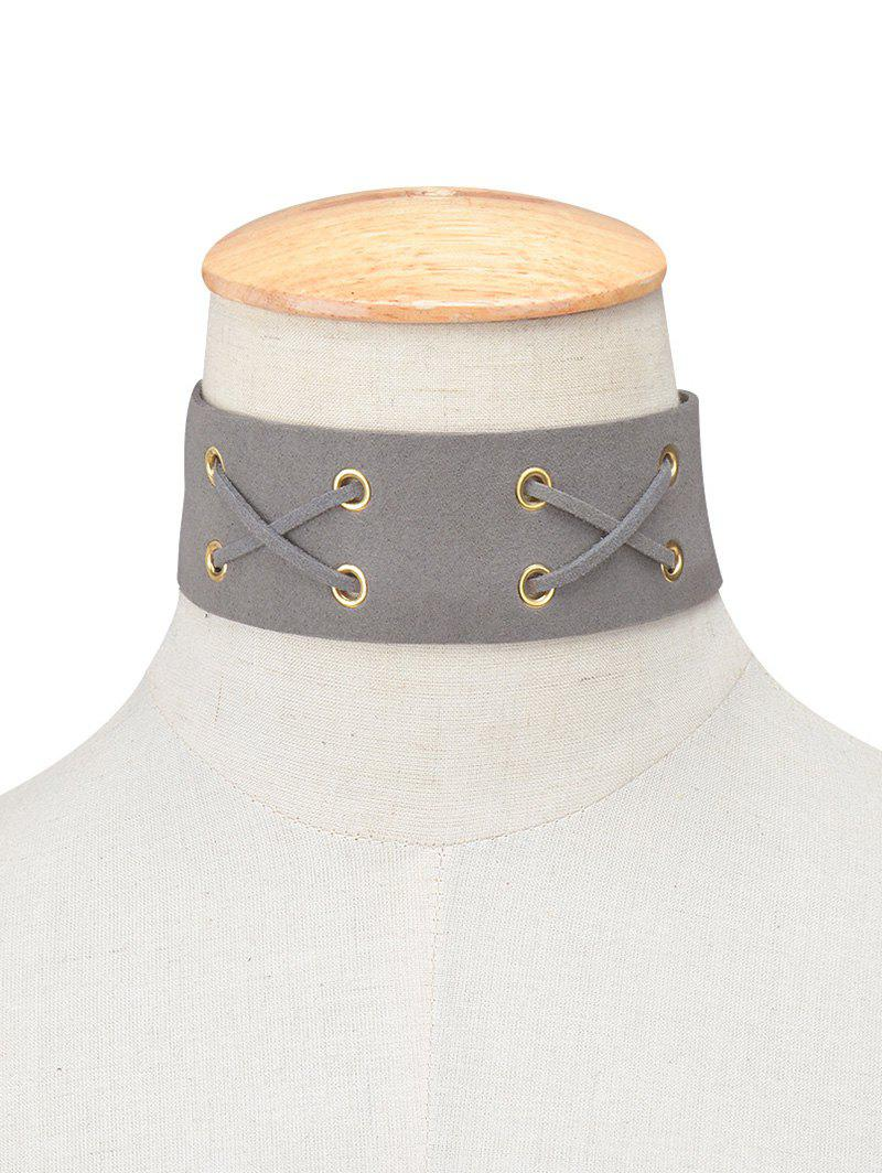 Faux Leather Velvet Lacing Choker от Dresslily.com INT