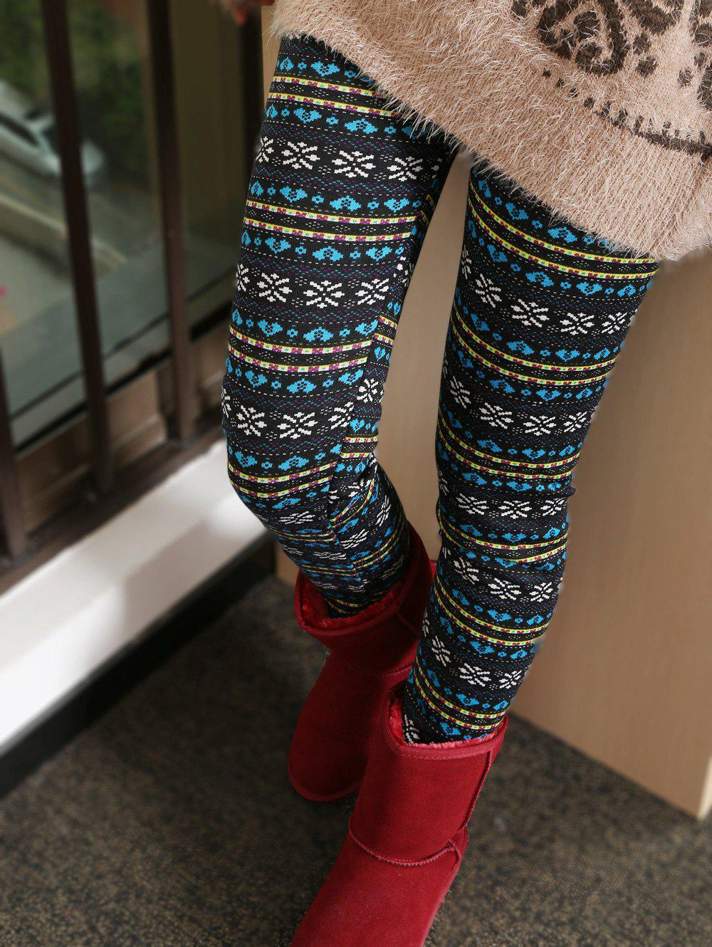 Thick Snowflake Ornate Patterned Leggings - COLORMIX ONE SIZE