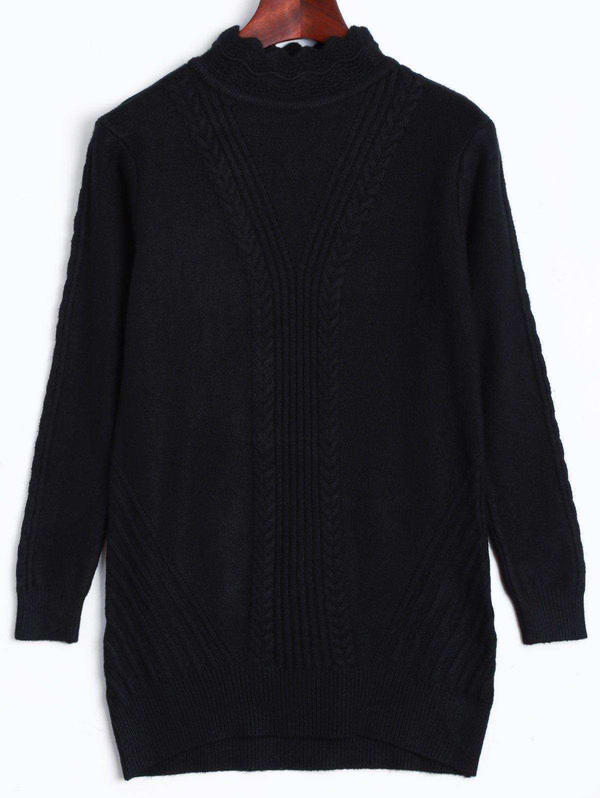 High Neck Ribbed  Sweater - BLACK ONE SIZE