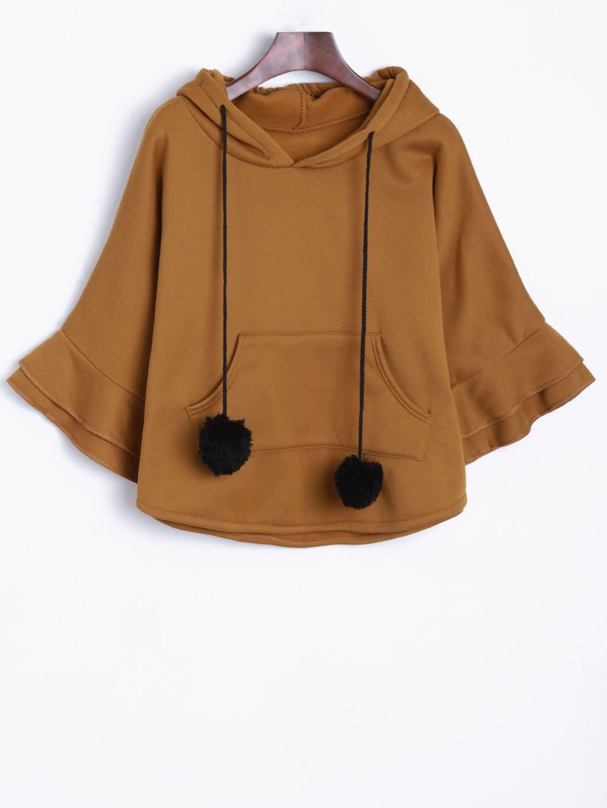 Pocket Pompon Hooded Poncho Cape - KHAKI ONE SIZE