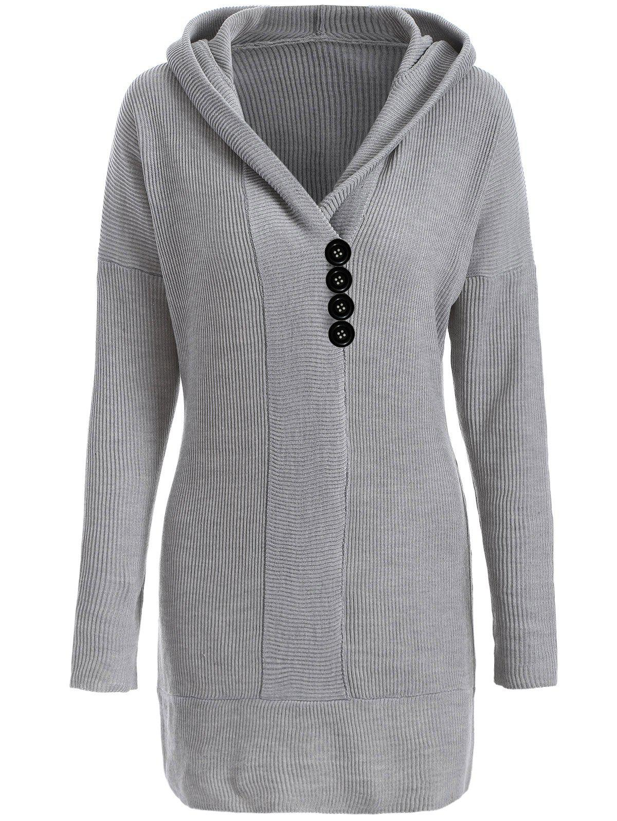 Knitted Hooded Buttoned Longline Sweater - GRAY S