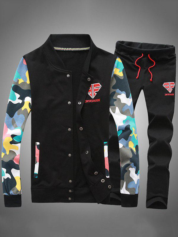 Button Up Camouflage Sleeve Jacket and Sweatpants Twinset - BLACK S