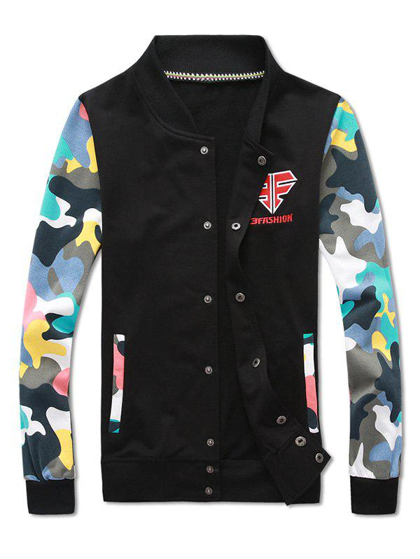 Button Up Camouflage Sleeve Jacket and Sweatpants Twinset - BLACK M