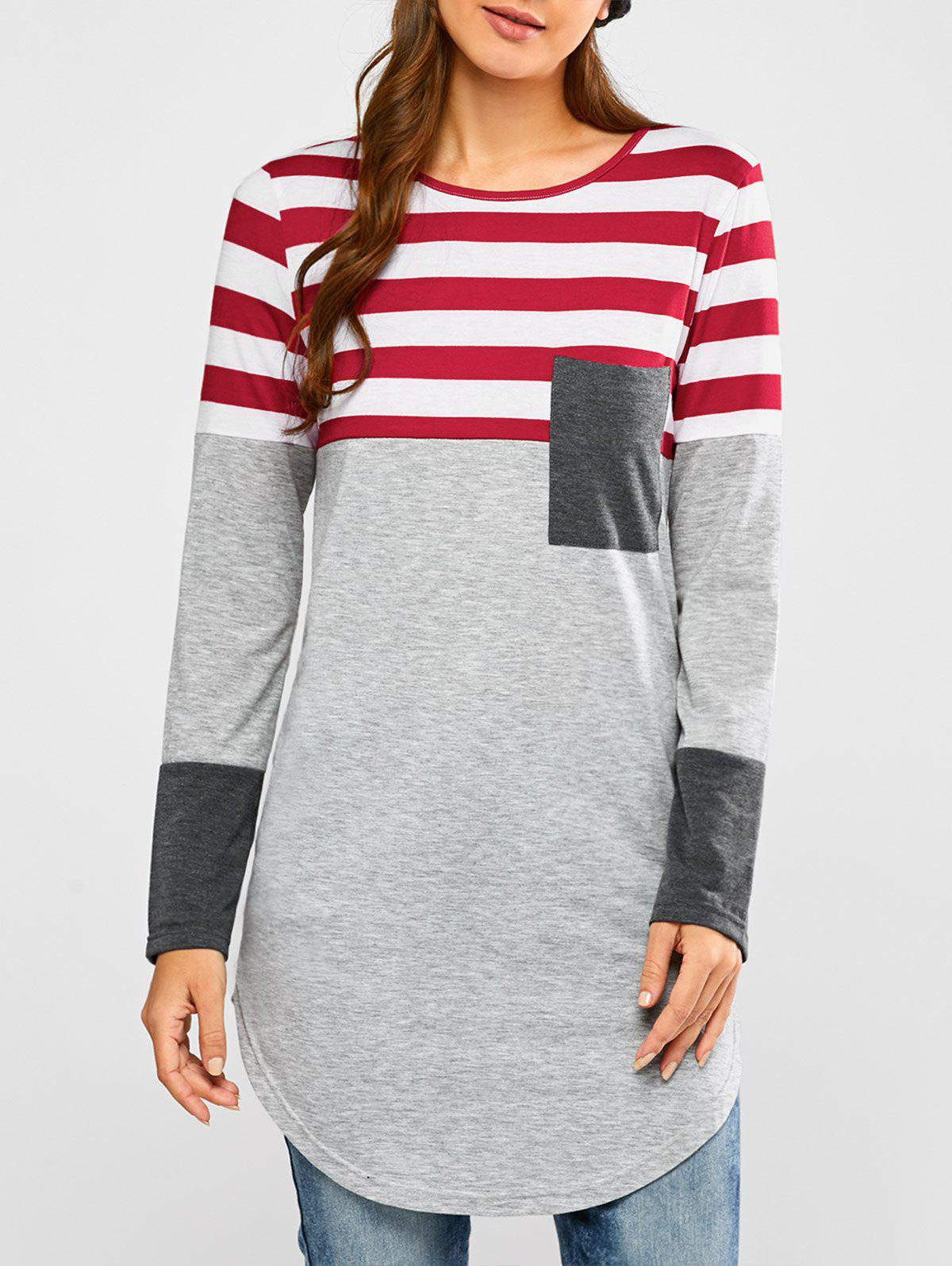 Striped Insert Longline Tee - GRAY/RED M