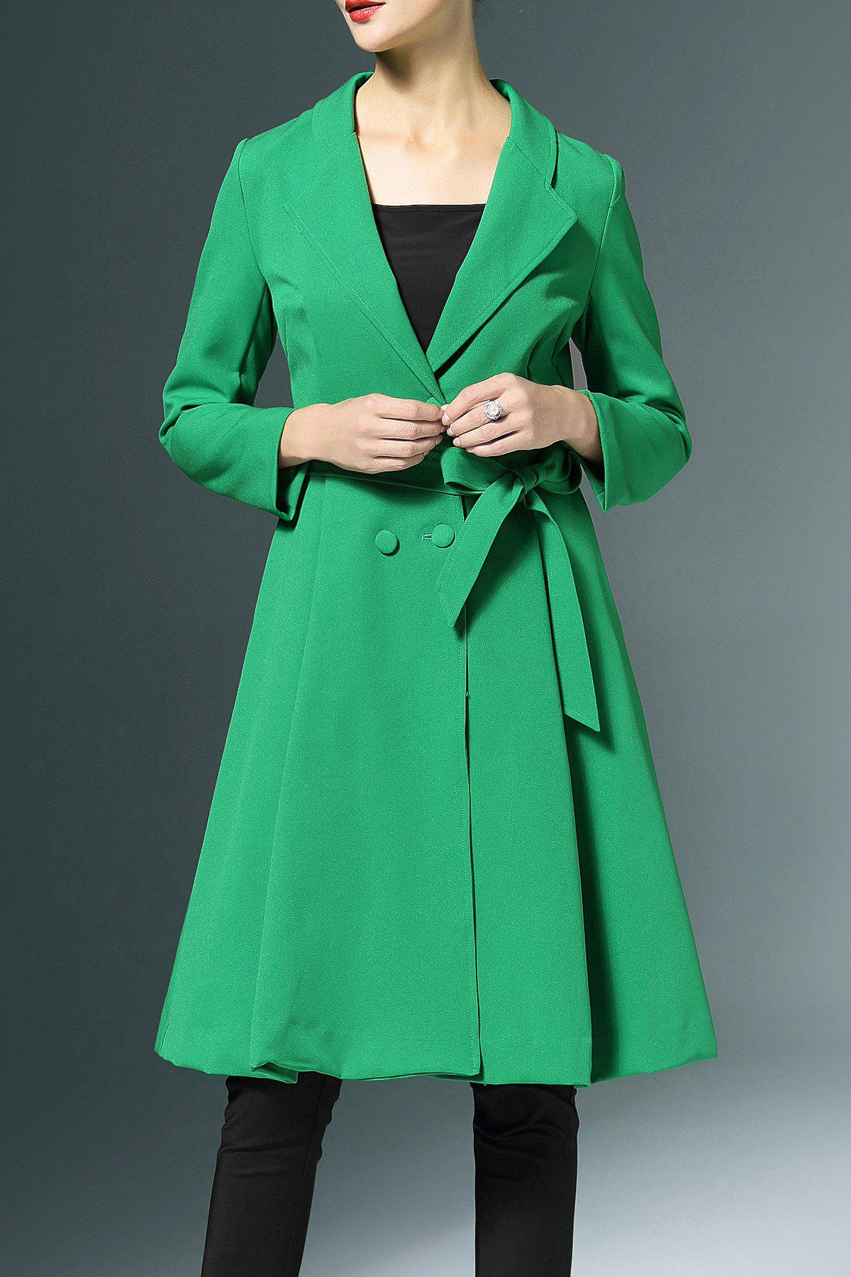 Bowknot Double-Breasted Trench Coat - GREEN M