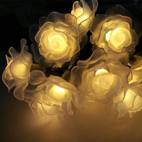 4.8M Christmas Rose Solar Power LED String Light Party Decoration - WARM WHITE LIGHT